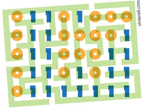 Binary code over a tilted maze